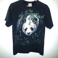 Vintage PANDA Bear Tshirt Animal Shirt Hippie Hipster Soft Grunge Nature Color Black Size Medium