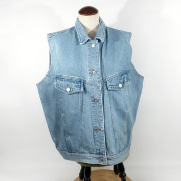 Jean vest Vintage 1990s BP Brass Plum Nordstrom Denim Light Blue Women's size L