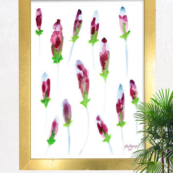 Floating Buds Floral Botanical Abstract Watercolor Fine Art Giclee Print Original Artwork