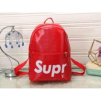 Perfect LV x Supreme Leather Bookbag Daypack Travel Bag School Bag Backpack