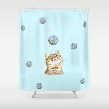 Cat Lover Cake Shower Curtain by lostanaw
