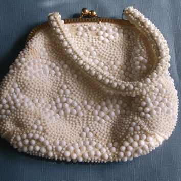 Vintage Handbag White Plastic Beads Cream Fabric Wedding Bridal Party Purse Special Occasion Gift for Her Birthday Christmas Holiday
