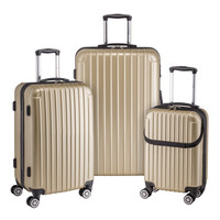 Euro Style Collection Ibiza 3Pcs Luggage Sets Travel Bag ABS Trolley Spinner Suitcase Champagne