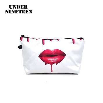 Under Nineteen 2017 New Fashion Women Lip Make Up Bag 3D Printing Cosmetic Bag Big Size Travel Toiletry Organizer Storage Pouch