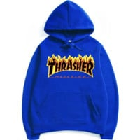 Womens Blue THRASHER Hooded Sweatshirt