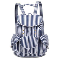 Blue Casual Stripe Satchels