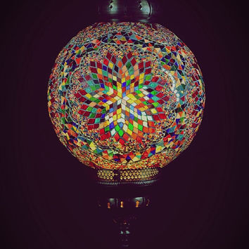 Extra Large Globe Turkish MosaicHangıng  Lamp XXLarge Globe 15inch