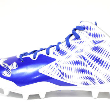 Under Armour Men's Nitro Mid MC White/Blue Football Cleats