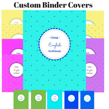 Printable Custom Dots Binder Cover | Dots Pattern Binder Insert | Dots Binder Insert | Custom Printable Binder Cover | Teacher Journal