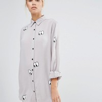 Lazy Oaf | Lazy Oaf Oversized Shirt With Eyes All Over Print at ASOS