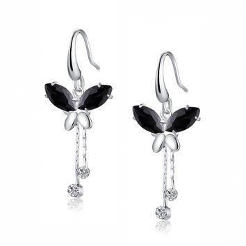Cubic Zirconia Butterfly Breeze Earrings (Black)