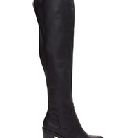 FOREVER 21 Faux Leather Over-The-Knee Boots Black