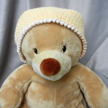 Cotton Crochet Cloche Hat Yellow Child Kids Hat by CroweShea