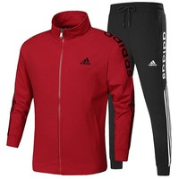 ADIDAS 2018 autumn and winter new men's casual sportswear jacket trousers two-piece Red