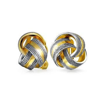 Twisted Cable Edge Knot Clip On Earring 2 Tone Black 14K Gold Plated
