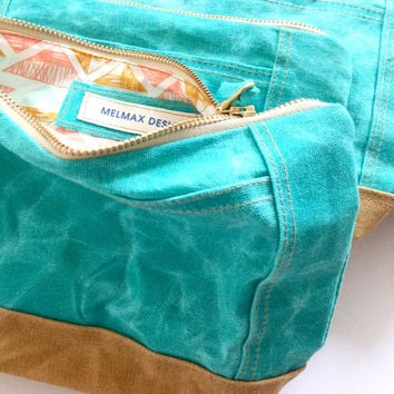 Teal Waxed canvas make up bag, cosmetics bag, toiletries bag,