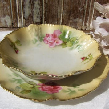 Antique China Berry Bowl & Dessert Plate Pink Rose
