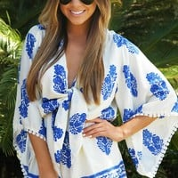 Like No One Else Romper: Blue/White - What's New - Hope's Boutique