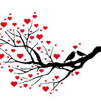 Birds Kissing on A Heart Tree Cross Stitch Pattern | Los Angeles Needlework
