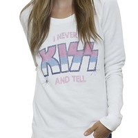 Kiss I Never Kiss and Tell Off the Shoulder Fleece - Women's Tops - All - Junk Food Clothing