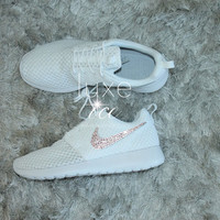 Nike Roshe Run Breeze White Platinum with SWAROVSKI® Xirius Rose-Cut Crystals.