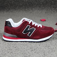 New Balance Women Men Popular Leisure Running Sport Sneakers Couple Shoes Wine Red