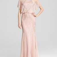 Aidan Mattox Gown - Short Sleeve Beaded Godet