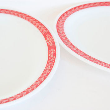 Pyrex Tableware Autumn Bands Red Serving Platter, Oval Dinner Plate Red Laurel  (Pair)