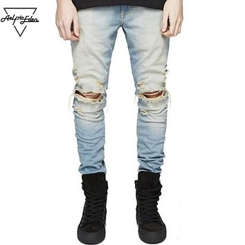 Black Skinny Jeans for Men Casual Denim Pants Blue Hip Hop Biker Men Male Jeans Trousers