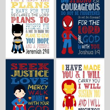 Superhero Christian Nursery Decor Set of 4 Prints, Batman, Superman, Spiderman & Ironman with Bible Verses