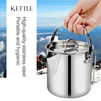 1200ML Camping Water Kettle Stainless Steel Kettles Coffee Pot Outdoor Cookware Canteen Set Portable Foldable