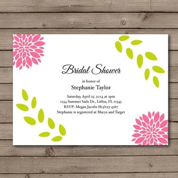 Modern Flower Bridal Shower Invitations