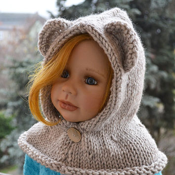 Knitted  hood - bear scarf - beige - bear hat - kids Bear hat - kids scarf - child scarf