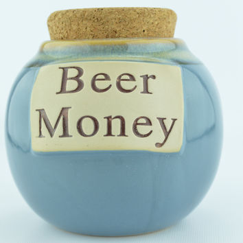 Tumbleweed Pottery Blue Beer Money Jug with Cork Top
