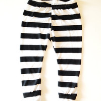 Halloween Leggings, Baby Leggings, Toddler Leggings, Black and White Striped Leggings