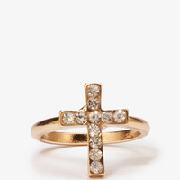 Rhinestone Cross Ring