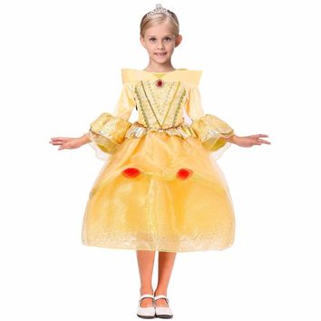 Children Costumes Dresses Summer Solid Color Lace Ball Gown Princess Sleeping Beauty Dress Mesh Cute Style Girls Formal Dresses