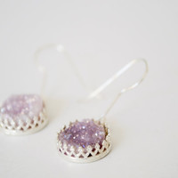 Lilac Agate Druzy Sterling Shiny Silver Plated Dangle Earrings