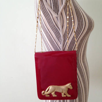 Red Patent Leather Shoulder Bag, Structured Purse, Party Clutch, Genuine Leather Bag, Gold Chain Strap Evening Purse By Dawli Made in USA