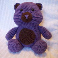 Crochet Teddy Bear Stuffed Animal in Purple and Brown, Crochet Stuffed Animal - Teddy Bear Plush Animal Toy