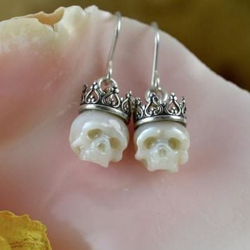 Hand Carved Crowned Pearl Skull Dangle Earrings