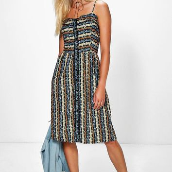 Daisy Strappy Button Through Print Dress