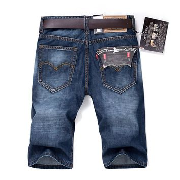 Men's Cotton Denim Shorts Elastic Short Jeans New Male Blue Casual Short Jeans Men Straight Denim Short Jeans Size 28-40
