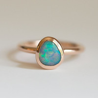 Rose Gold Opal Bezel Ring- Create Your Own Opal Bezel Ring- Rose Gold Opal Ring- Eco Friendly - Choose your stone- Mermaid ring by Anueva