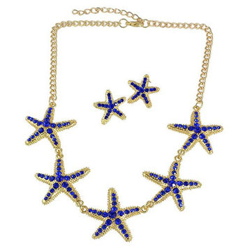 Sapphire Blue Rhinestone Starfish Necklace and Earrings