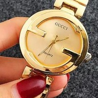 Gucci Woman Men Fashion Print Watch Business Watches Wrist Watch Rose Golden G-Fushida-8899