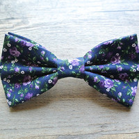 Flower Bow, Flower Hair Bow, Floral Bow, Flower Tie, Bow Tie, Navy Bow, Bowtie, Hairbow, Mens Bow Tie, Hair Accessories
