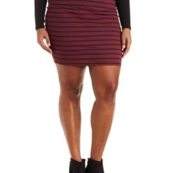 Plus Size Burgundy Cmb Striped Mini Skirt by Charlotte Russe