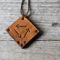 Recycle arrow pendant necklace hand stamped leather tribal inspired rich brown wear long or short for earth day
