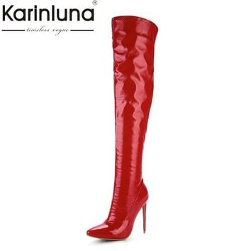 KARINLUNA 2017 Plus Size 33-48 Customized Pointed Toe Women Shoes Sexy Thin High Heel Party Wedding Shoe Winter Long Boots